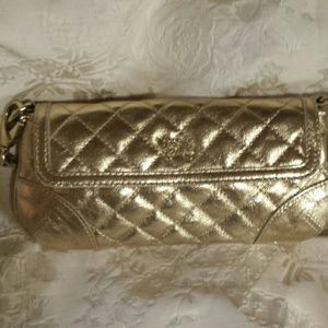 Burberry Gold Quilted Clutch